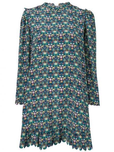 Niebieska sukienka mini z długimi rękawami z jedwabiu Horror Vacui