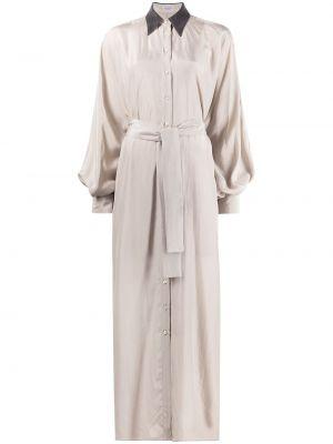Бежевое шелковое платье макси с длинными рукавами Brunello Cucinelli