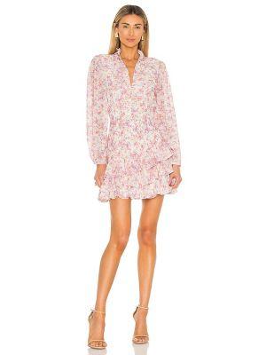 Розовое платье А-силуэта винтажное с декольте Yumi Kim