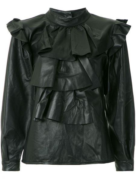 Блузка с длинным рукавом с рюшами черная Andrea Bogosian