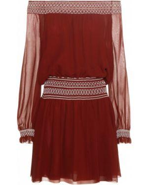 Платье мини бордовый через плечо Tory Burch