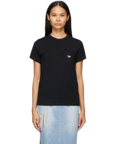Хлопковая черная рубашка с короткими рукавами с воротником Maison Kitsuné