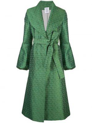 Zielony płaszcz z paskiem z jedwabiu Rosie Assoulin