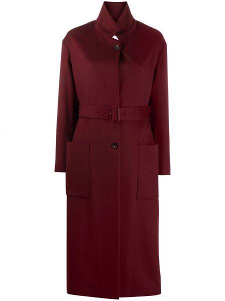 Однобортное красное кашемировое длинное пальто Salvatore Ferragamo
