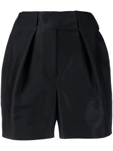Хлопковые черные шорты со складками Alexandre Vauthier