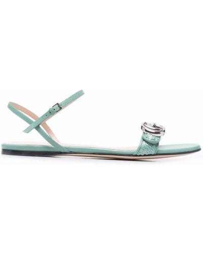 Sandały skórzane - zielone Gucci