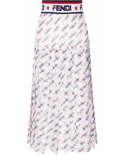 Плиссированная юбка миди макси Fendi
