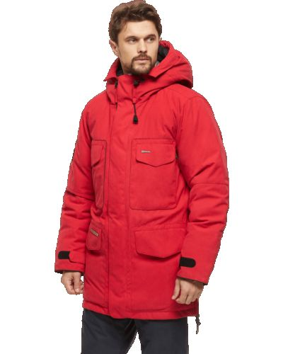 Кожаная куртка с капюшоном - красная Bask