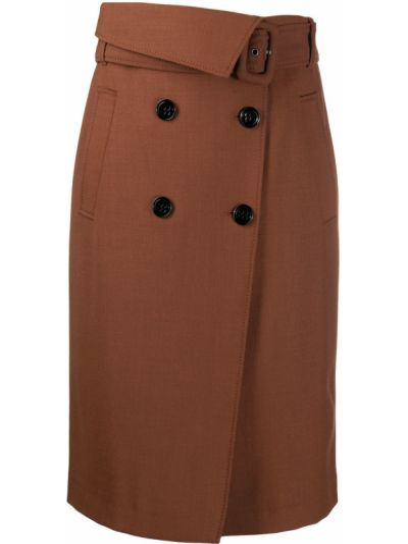 Шерстяная коричневая юбка миди с запахом на пуговицах Dorothee Schumacher