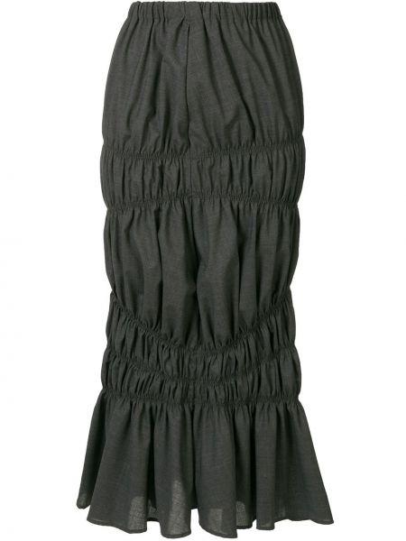 Ciemno szary wełniany asymetryczny spódnica Enfold