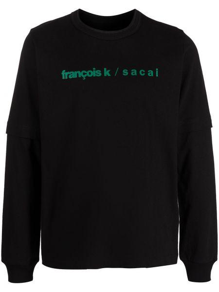 Czarna bluza długa z długimi rękawami bawełniana Sacai