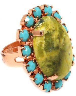 Кольцо с камнями - зеленое Amaro