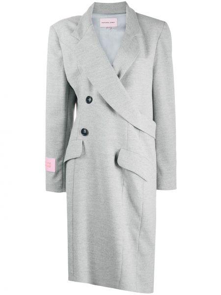 Серое шерстяное длинное пальто с запахом Natasha Zinko