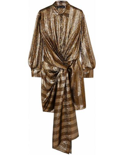 Шелковое платье мини с подкладкой в полоску Oscar De La Renta