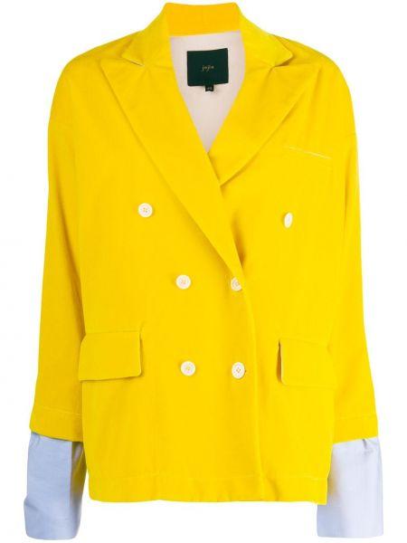 Желтый удлиненный пиджак двубортный с карманами Jejia