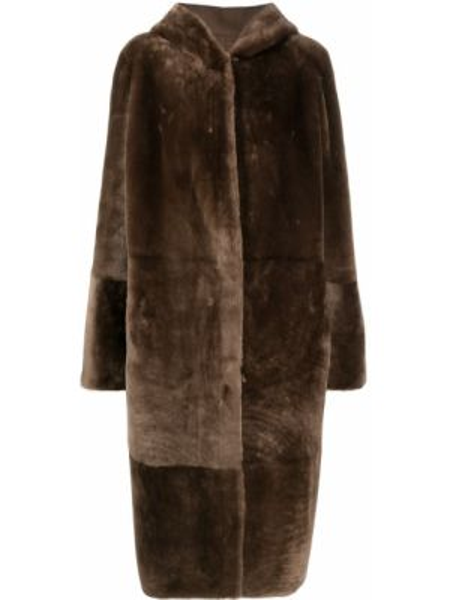 Прямое коралловое длинное пальто двустороннее из овчины Liska