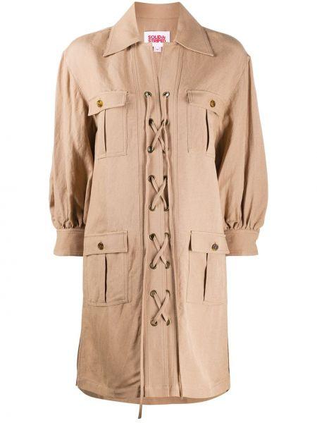 Długi płaszcz klasyczny z kieszeniami Solid & Striped