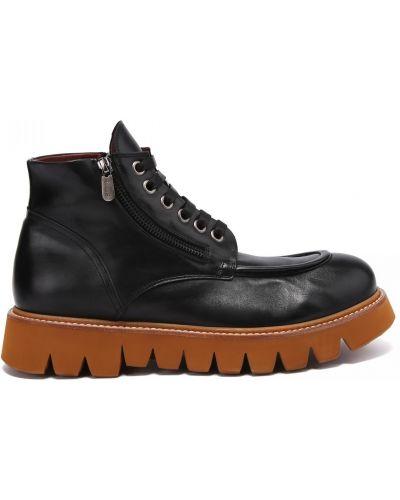 Кожаные ботинки на шнуровке круглые Rocco P.