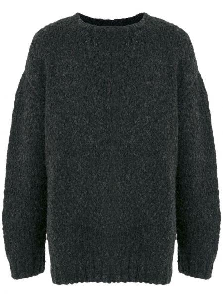 Черный свитер оверсайз оверсайз из альпаки в рубчик Osklen
