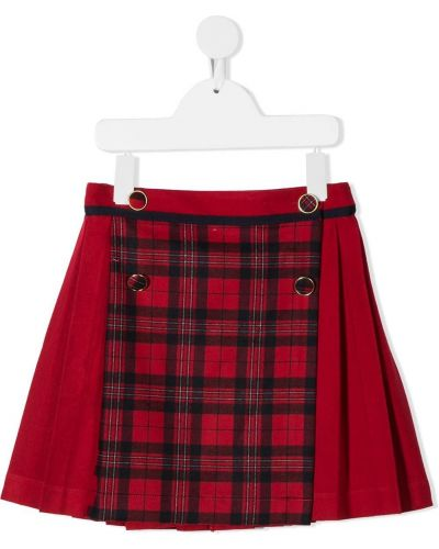 Плиссированная красная юбка мини из вискозы Patachou