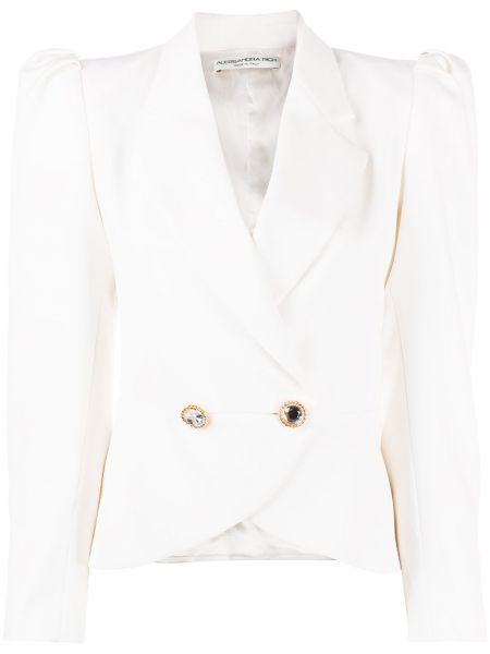 Шерстяной белый удлиненный пиджак двубортный Alessandra Rich