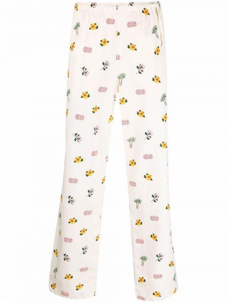 Białe spodnie w kwiaty bawełniane Clot