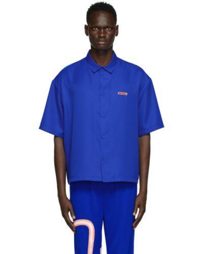 Niebieska koszula krótki rękaw z haftem Reebok By Pyer Moss