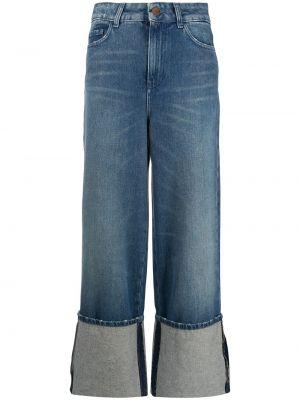 Синие свободные широкие джинсы свободного кроя со складками Alysi