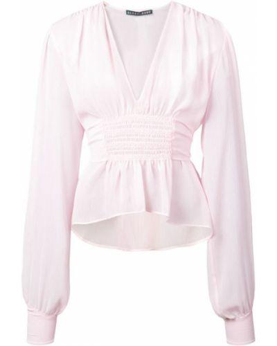 Блузка с длинным рукавом розовая с рюшами Alexa Chung