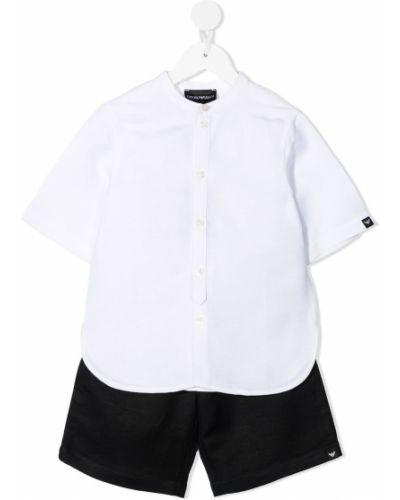 Czarna koszula krótki rękaw bawełniana Emporio Armani Kids