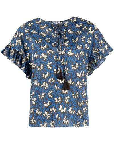 Синяя блузка круглая в цветочный принт P.a.r.o.s.h.
