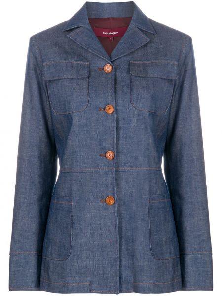 Хлопковая синяя джинсовая куртка с воротником Sies Marjan