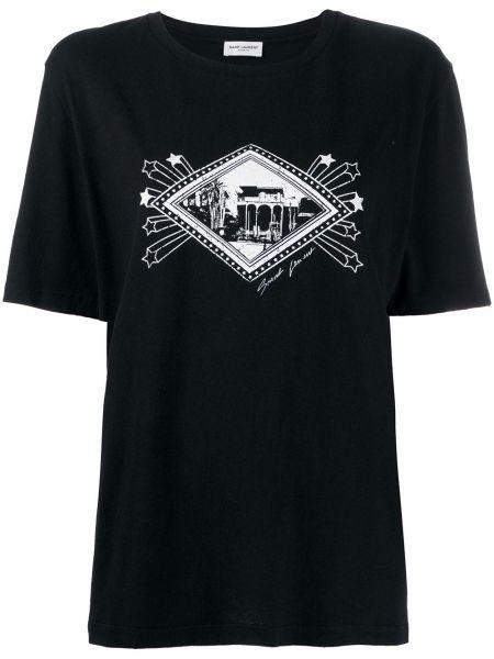 Хлопковая футболка - черная Saint Laurent