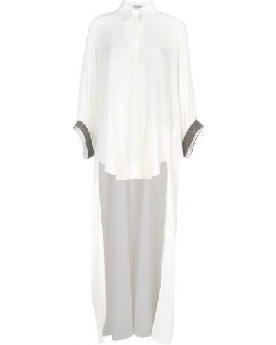 Klasyczna biała tunika z haftem Brunello Cucinelli