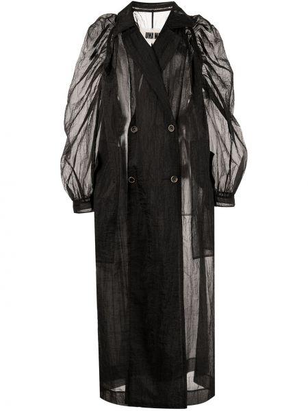Черное длинное пальто с воротником на пуговицах Uma Wang