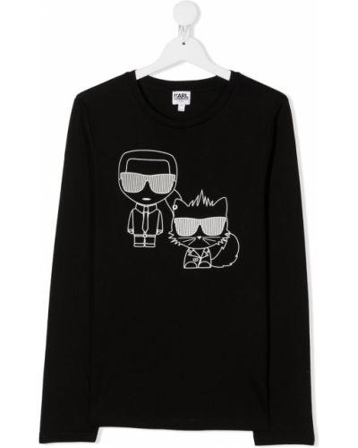 Хлопковый черный топ с круглым вырезом круглый Karl Lagerfeld Kids