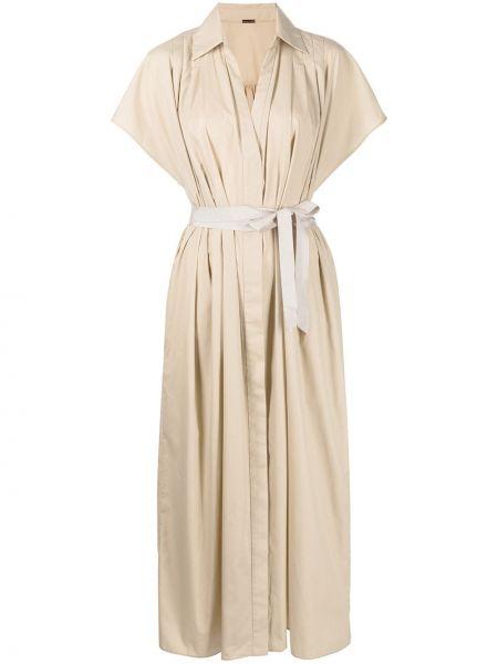 Платье мини короткое - коричневое Adam Lippes
