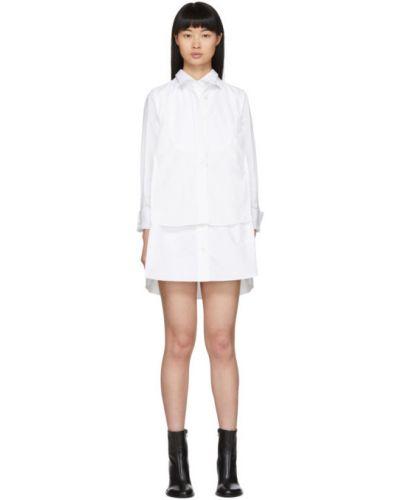 Хлопковое белое платье макси с длинными рукавами с воротником Sacai