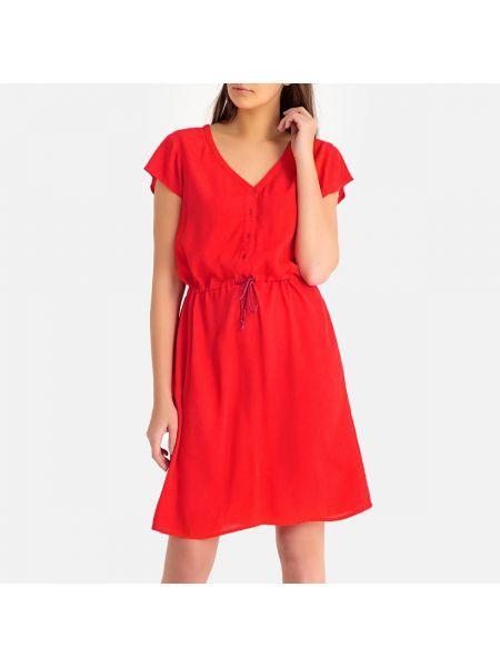 Красное расклешенное платье мини с V-образным вырезом на молнии Harris Wilson