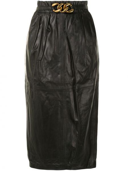 Кожаная черная юбка карандаш N°21