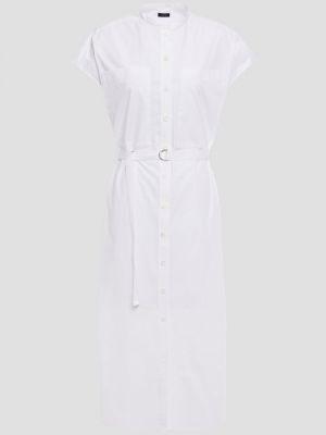 Плиссированное белое платье миди с поясом Joseph