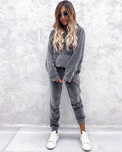 Велюровый спортивный костюм - серый No Brand