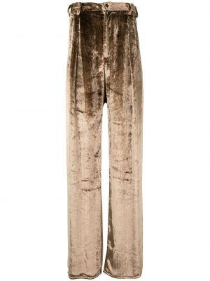 Beżowe spodnie z paskiem z aksamitu Sulvam