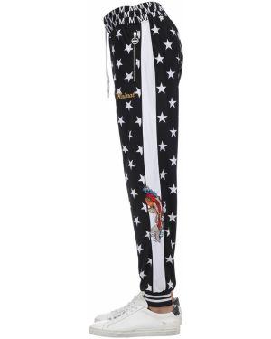 Czarne spodnie w paski z printem Minimal