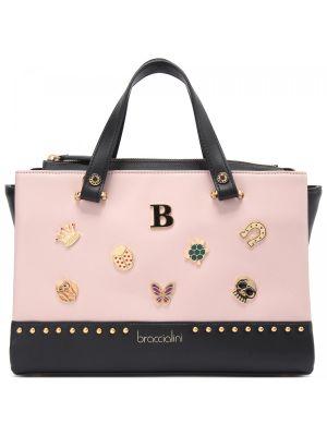 Розовая кожаная сумка Braccialini