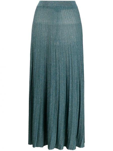 Синяя плиссированная юбка миди на резинке Roberto Collina