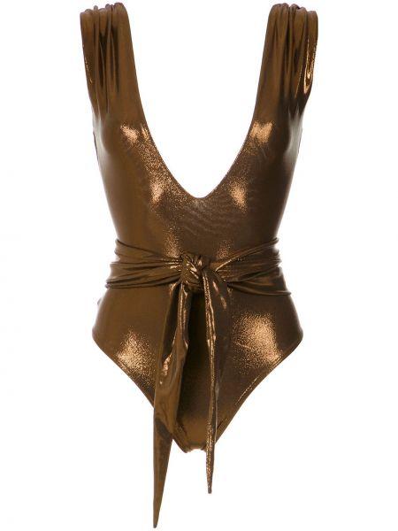 Коричневый купальник с драпировкой с V-образным вырезом металлический Amir Slama