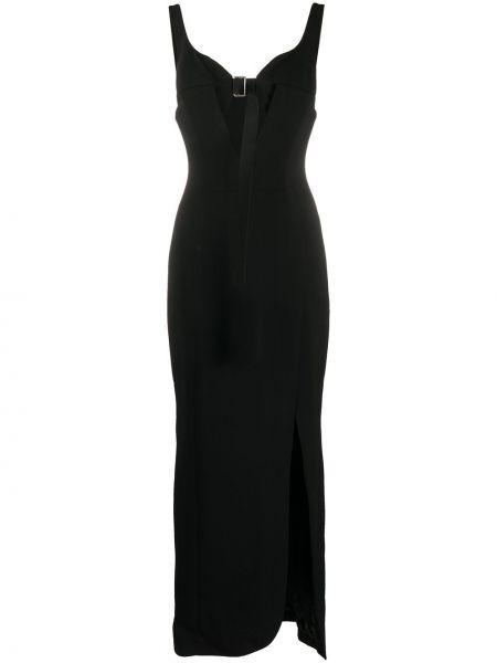 Шелковое черное платье с открытой спиной без рукавов Olivier Theyskens