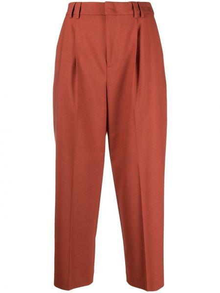 С завышенной талией шерстяные укороченные брюки стрейч Pt01
