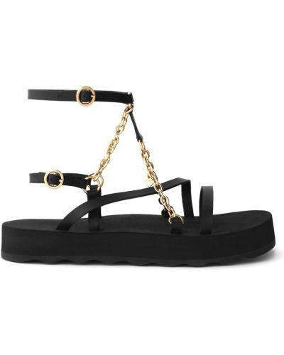 Кожаные черные сандалии на толстой подошве Maje